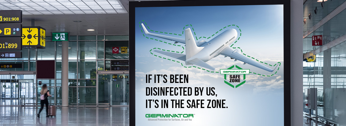 Busy Airport Terminal With Sign Showing Airplane in Safe Zone Giving Peace of Mind to Travelers