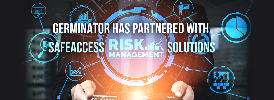 Man Holding Tablet Displaying Hologram of Various Risk Management Icons Because Germinator Partnered With SafeAccess Solutions