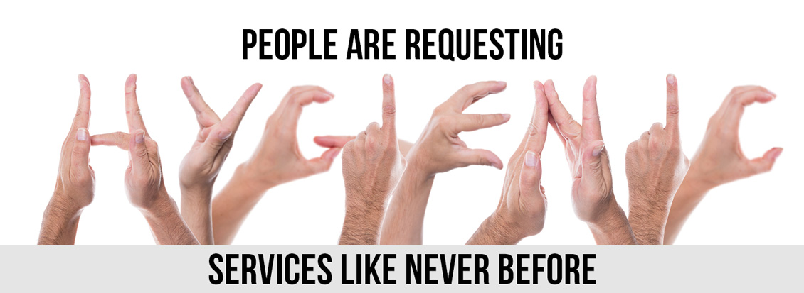 Hands Spelling Hygienic to Form 'People Are Requesting Hygienic Services Like Never Before' Sentence