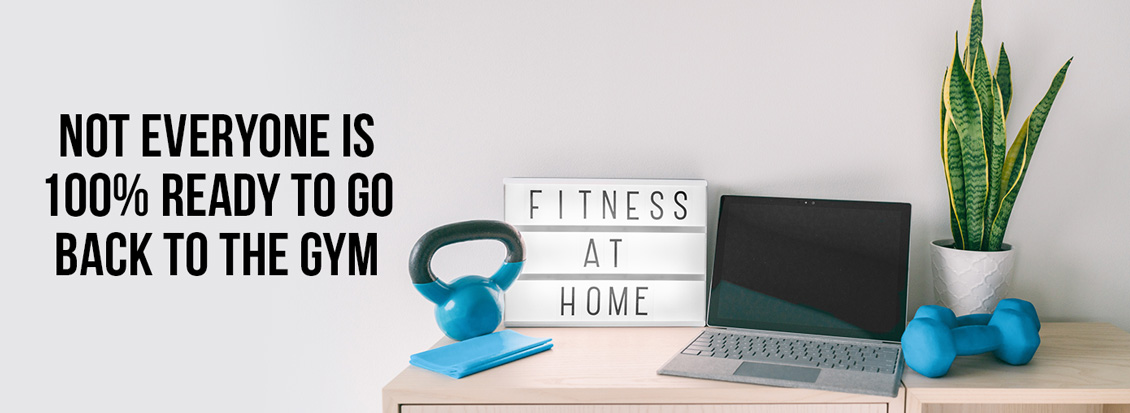 'Fitness at Home' Sign Next to Weights/Laptop Because People Aren't Comfortable Going Back to Gym
